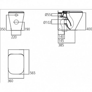 TONIC II wc BTW UNIV+Aquablade + sedile slim IDSK317301
