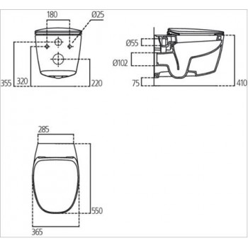 DEA wc sospeso + Aquablade + sedile slim a chiusura rallentata bianco europa T348801