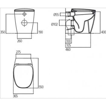 DEA wc BTW+ Aquablade + sedile slim a chiusura rallentata bianco MATT T349183 - Vasi WC