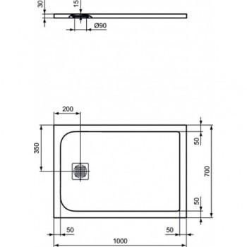 ULTRAFLAT S piatto doccia 100x70 bianco IDSK8218FR