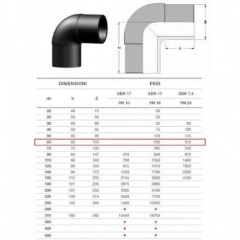 20.10 GOMITO 90° IN PE100 SDR11 ø63mm PN16 2010160063 - A saldare per tubi PED/PEHD