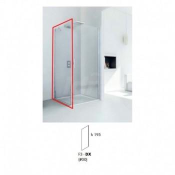 Parete fissa F3 destra per box doccia. Misure 87-89 h. 195 trapsarente / argento REL0165083100
