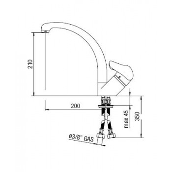 HERA miscelatore monocomando lavello H.210mm TDF NOBHE24113TC