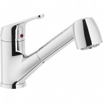 HERA Miscelatore rubinetto monocomando lavello + Doccetta estraibile 2G CR HE24117CR