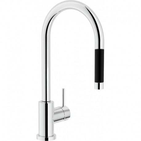 LIVE Miscelatore rubinetto lavello CANNA OMBR. + Doccetta estraibile CR LV00137/1CR - Per lavelli