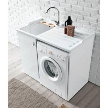 SMART 7009 Lavatoio con asse di legno. Dim. 60x110 cm. Spazio per lavatrice a destra. 7009SMARTLD