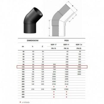 20.15 GOMITO 45° IN PE100 SDR11 ø110mm PN16 2015160110 - A saldare per tubi PED/PEHD