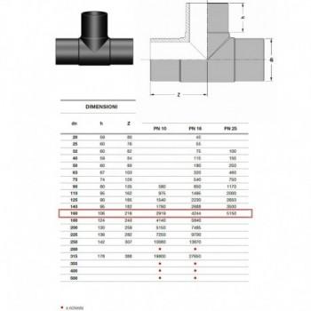 TE 90° d. 160 PN 16 2020160160 - A saldare per tubi PED/PEHD