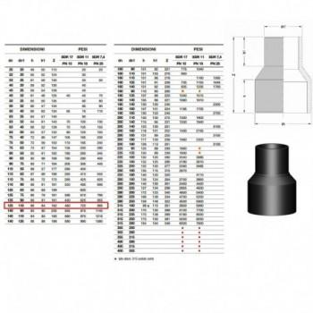 20.50 riduzione IN PE100 SDR11 ø125x110mm PN16 ERS2050161211