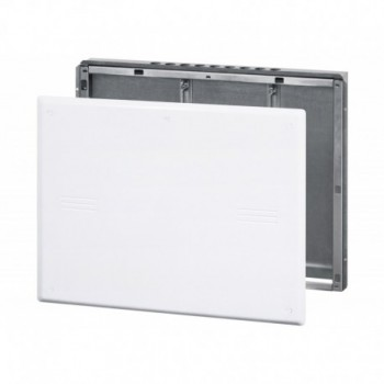 Box 1 Cassetta metallica ad incasso per collettori, coperchio in plastica. Profondità regolabile 80-130 mm. Misura: 600 x 500...