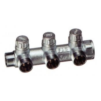 3900 MULTIFAR - Collettore componibile cromato a 3 derivazioni per impianti sanitari o riscaldamento con detentori incorporat...