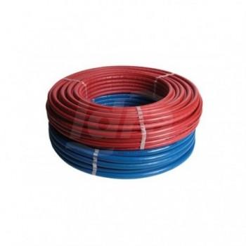 Tubo multistrato in rotolo 50 mt, misura 16x2 STANDARD (PE-Xc/Al/PE-Xc) con isolamento di spessore 6 mm con guaina rossa goff...