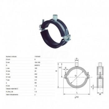 Collare gommato Perfekt a 2 viti 164-168mm M8/M10 1191648 - Collari/Staffe/Mensole