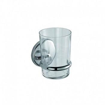 Colorella Portabicchiere a Parete con Bicchiere in Vetro Extrachiaro Trasparente, Ottone, Cromato, 9 x 8 x 11 cm INDA23100CR03