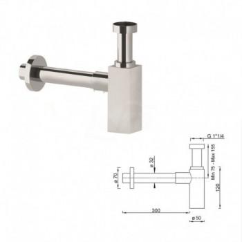 Sifone d'arredo per il bagno per scarico quadro 1''1/4 BTSCACVR41 - Sifoni in ottone