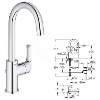 Miscelatore rubinetto Monocomando per Lavabo, Contemporary, Cromo, L 23537002 - Per lavabi