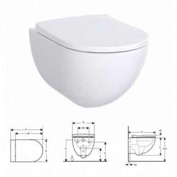 Pozzi Ginori ACANTO RIMFREE® vaso sospeso senza brida completo di sedile antibatterico con chiusura ammortizzata e sgancio rapido finitura bianco POG500.606.01.1