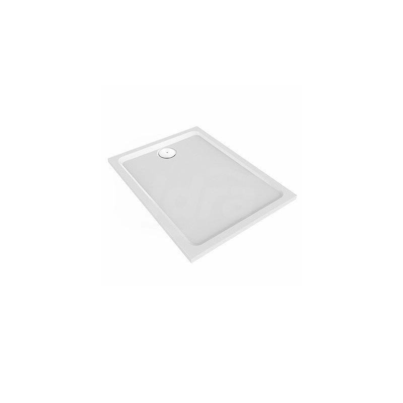 Melua piatto doccia extrapiatto in resin stone 90x70 h.35 cm. Superficie antiscivolo. Foro per piletta da 90mm. Installazione sopra e a filo pavimento. POG550.503.00.1