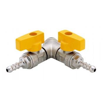 """BON GAS - G.0342 - Bolla fil. maschio a due rubinetti a sfera per G.P.L. con portagomma secondo UNI7141, con levetta in alluminio plastificata gialla, nichelata.  1/2"""" - ISO ENOG0342N04"""