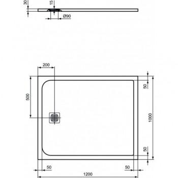 Ideal Standard ULTRA FLAT S piatto doccia rettangolare ultrasottile Ideal Solid 120 x 100 cm, finitura opaca effetto pietra, bianc IDSK8232FR