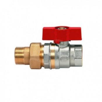 Valvola a sfera serie collettore orion con bocchettone diritto dn 3/4 con leva a farfalla in alluminio rossa EFF2087R405