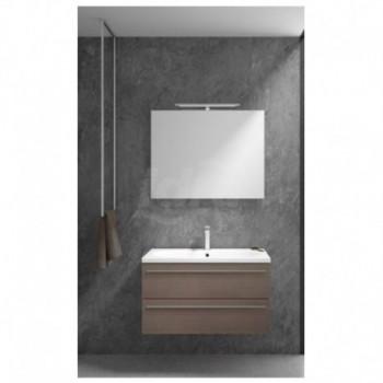 Mobile bagno con 2 cassetti, specchio e lampada, dimensione L. 900X P.460 X H. 500 Finitura sable' MONOBLOCCOVALESTL90