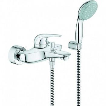 Grohe Eurostyle New Miscelatore monocomando per vasca-doccia, con set doccia, finitura cromo, leva chiusa GRO23729003