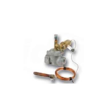 Valvola di intercettazione combustibile 1 1/2 con attacchi filettati FF, omologata ISPESL per metano, gpl, gasolio, olio combustibile, ad azione positiva con riarmo manuale, pressione max 100 KP (1 bar), lunghezza capillare 6 m RBM06160800