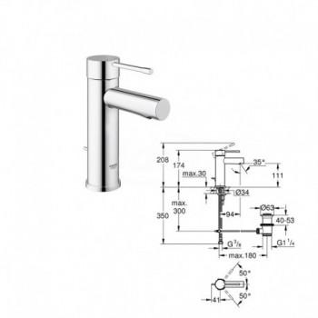 Essence Rubinetto per lavabo, scarico a saltarello, bocca normale, GROHE EcoJoy finitura cromo GRO32898001