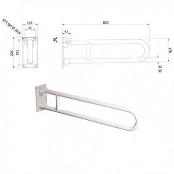 Barra di sostegno ribaltabile con dispositivo di bloccaggio in posizione verticale. 600 mm 600-I-B-VALE