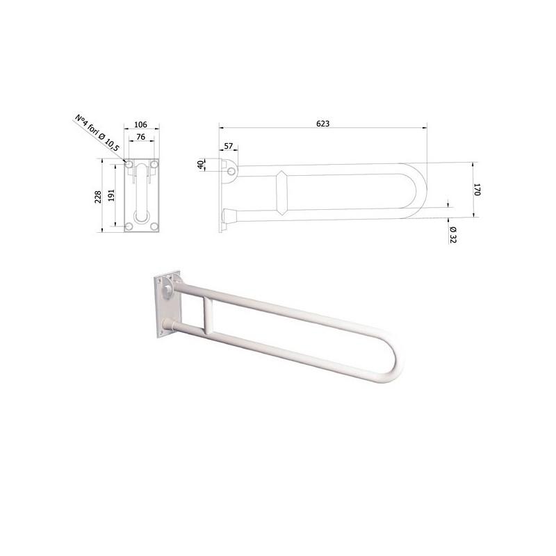 Barra di sostegno ribaltabile con dispositivo di bloccaggio in posizione verticale. 600 mm 600-I-B-VALE - Sanitari per disabi...
