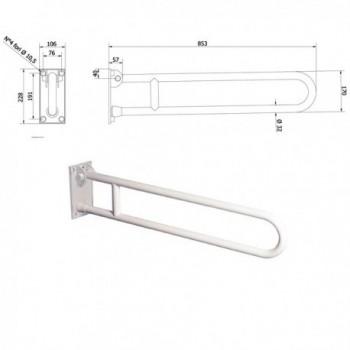Barra di sostegno ribaltabile da 830 mm bianca 830-I-B-VALE