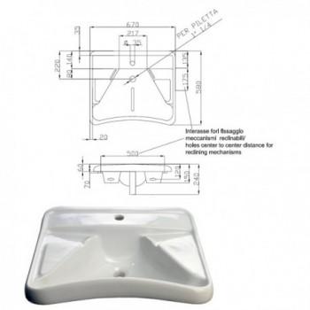 """Lavabo ergonomico serie """"Basic"""" in vitreous china. 670x580 mm. Solo fissaggio su staffe o meccanismi. IDB400-EA-VALE"""