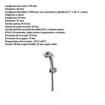 Doccetta a pulsante con supporto e flessibile 520-VALE - Sanitari per disabili e comunità