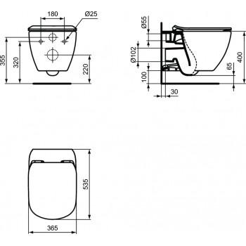 TESI wc sospeso + Aquablade + sedile slim bianco europa T354701 - Vasi WC