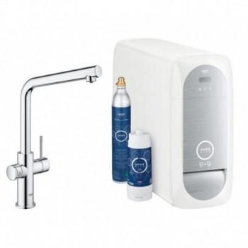"""Grohe Blue Home Miscelatore rubinetto monocomando per lavello con sistema filtrante dell'acqua bocca """"L"""" Cromo 31454000 - Per..."""