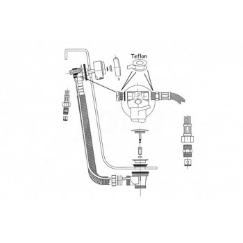 colonna SCARICO vasca C/EROG. PLASTICA CR T6492AA