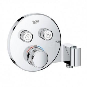 Grohtherm SmartControl Miscelatore termostatico a 2 vie con supporto manopola doccia integrato, finitura cromo, diametro 15,8 cm 29120000