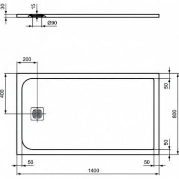 ULTRA FLAT S piatto doccia rettangolare ultrasottile Ideal Solid 140 x 80 cm, finitura opaca effetto pietra, bianco K8237FR