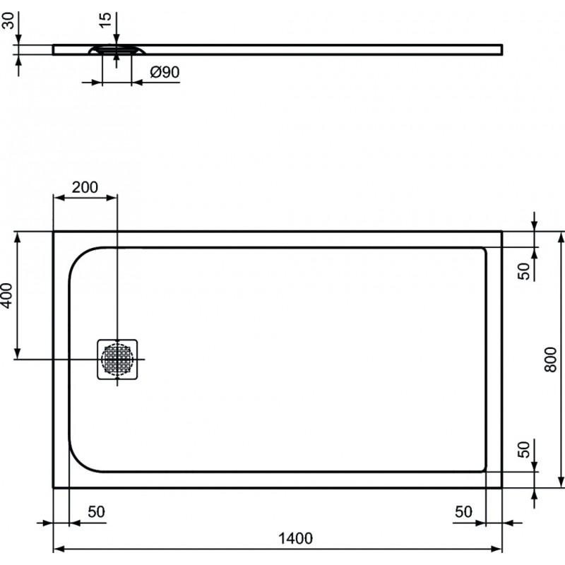 ULTRAFLAT S piatto doccia 140x80 SABBIA K8237FT