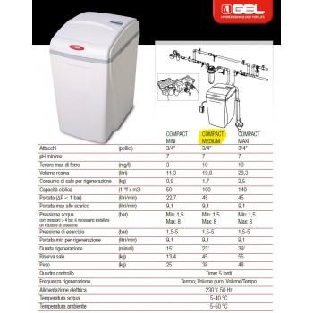 ADDOLCITORE ACQUA COMPACT MEDIUM GEL 109.725.50 ALTA EFFICIENZA E TIMER ELETTRONICO VOLUMETRICO 10972550 - Addolcitori cabinati