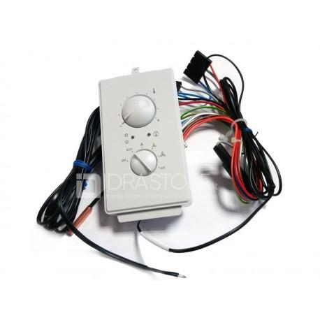 Termostato elettronico per installazione a bordo ventilconvettore fcz - cambio stagione - controllo temperatura e ventilazione a 3 velocita' - sonda acqua e aria interne PTINZ
