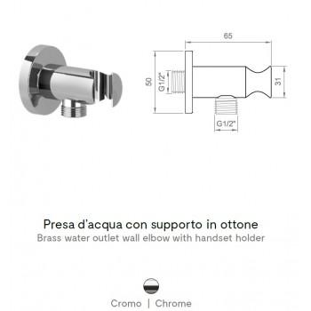 Presa d'acqua con supporto in ottone per doccetta. Modello 1210 BNPRECPA090002 - Gruppi per docce