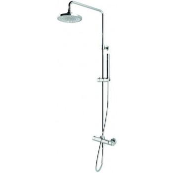 Colonna doccia pluvio tonda econ. con termostatico a 2 vie con deviazione integrata.\nColonna in ottone, telescopica. Flessib...