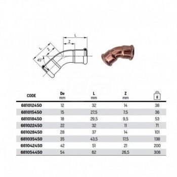 Curva 45° FF ø18 INOX 316L press. 181018450 - A pressare inox per acqua
