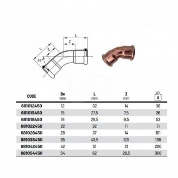 Curva 45° FF ø35 INOX 316L press. 181035450 - A pressare inox per acqua