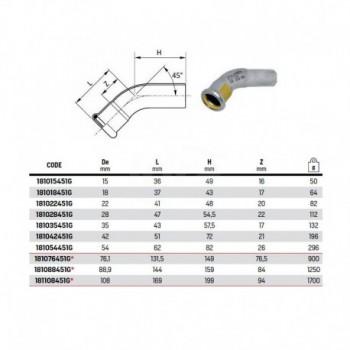 Curva 45° MF ø76,1 inox 316L press. o-ring giallo 181076451 - A pressare inox per acqua