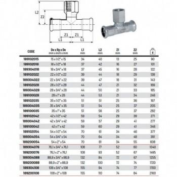 """Tee con derivazione filetto F ø22x1/2""""Fx22 inox 316L press 189102022 - A pressare inox per acqua"""