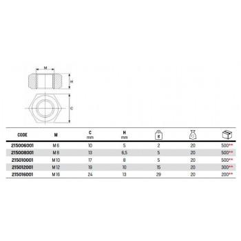 215 DADO ESAG. MEDIO M8x6,5mm ACC. ZINC. 215008001