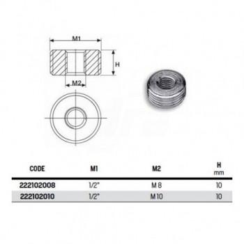 "Adattatore zincato 1/2"" gas - M10 222102010"